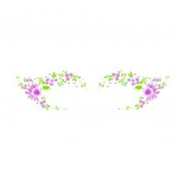 Voděodolné nalepovací dočasné oční tetování luční kvítí, fialové květy