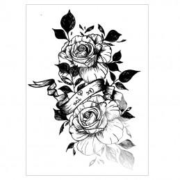 Dočasné nalepovacie tetovanie čiernobiele ruže, pre zamilovaných