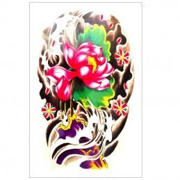 Dočasné nalepovací tetování barevné ve stylu jakuzy, leknín, lotus