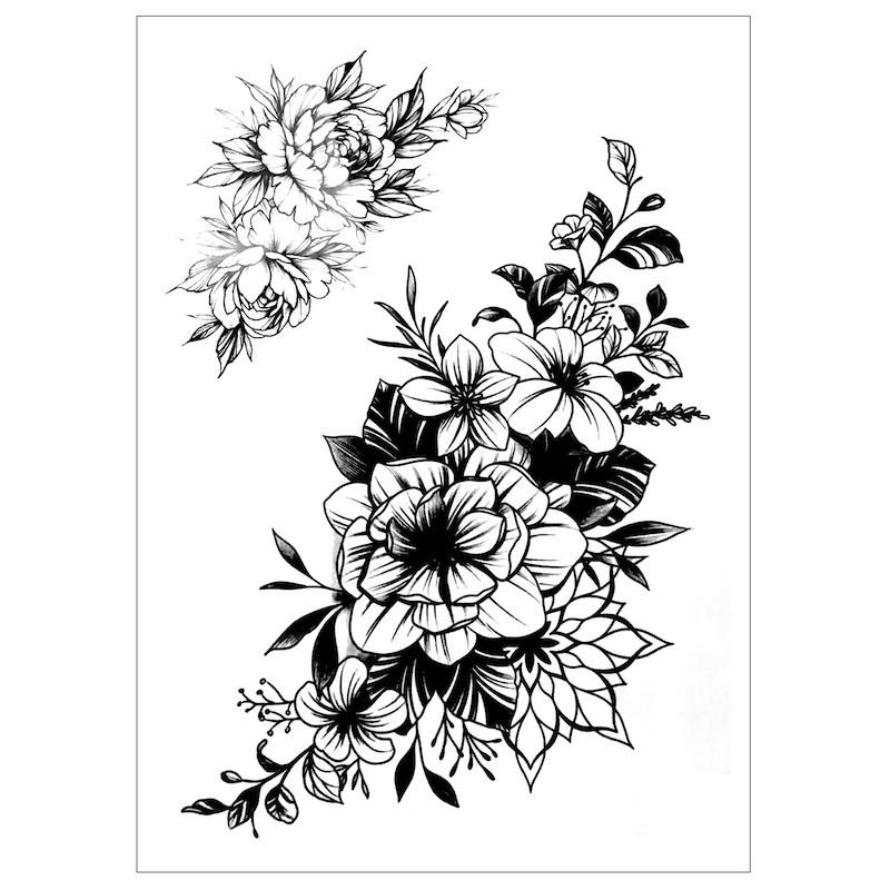 Dočasné nalepovací tetování černobílé květinové, pivoňky, květy