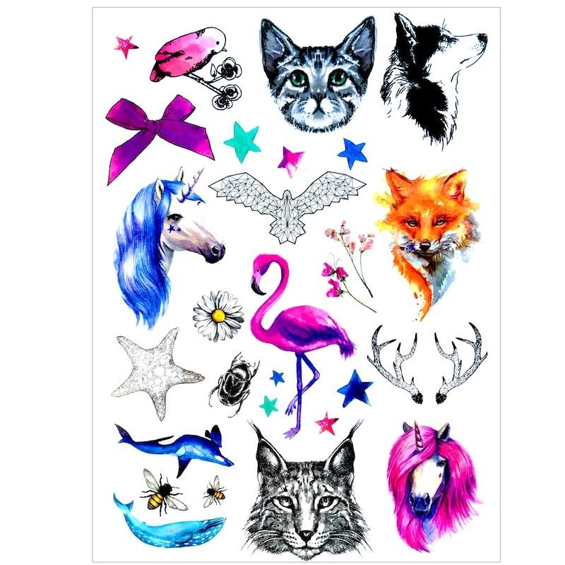 Dočasné nalepovací tetování barevné, dětské motivy, zvířátka, příroda