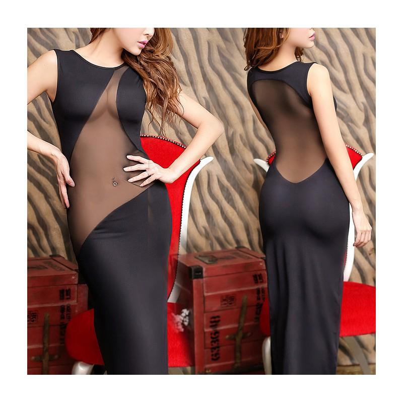 Dlouhé sexy rafinované šaty se síťovinou a vysokými rozparky