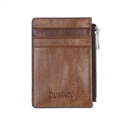 RFID/NFC mini peněženka, z pravé kůže, se zipem