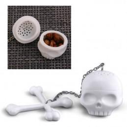 Čajové sítko silikonová lebka a skřížené hnáty, pirátské