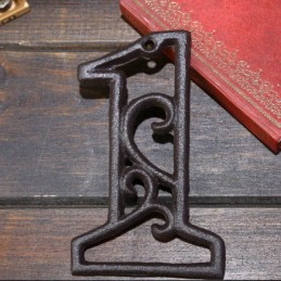 Litinové, železné číslo 1, dekorace na dům, domovní číslo na hřebík