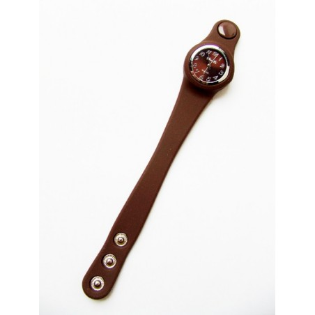 Modny brązowy zegarek silikonowy