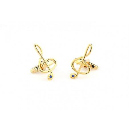 Manžetové gombíky husľový kľúč zlatý s kamienkom