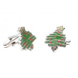 Manžetové knoflíčky vánoční strom