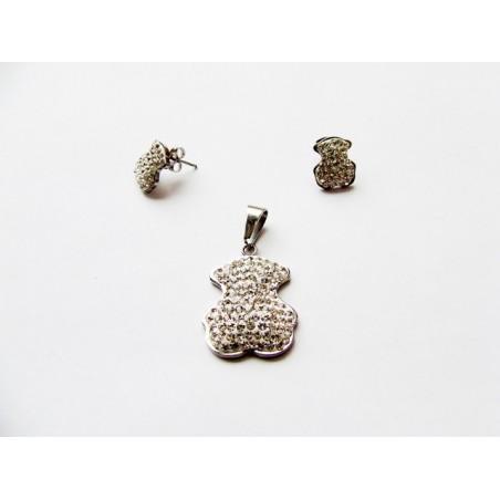 Set šperky přívěsek a náušnice medvěd