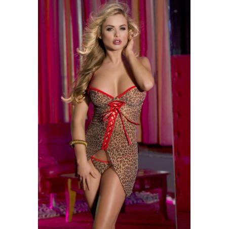 Erotická leopardí průhledná sexy erotická košilka Athena