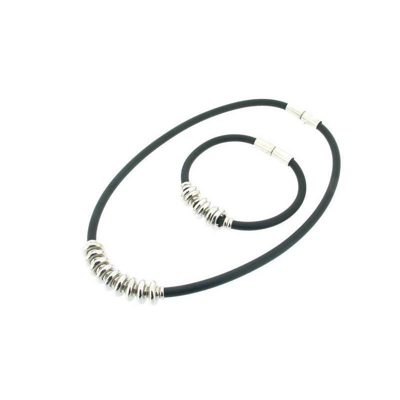 Set náhrdelník a náramek - silikon a kov