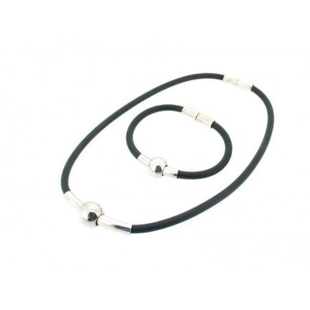 Halskette und Armband aus Kautschuk