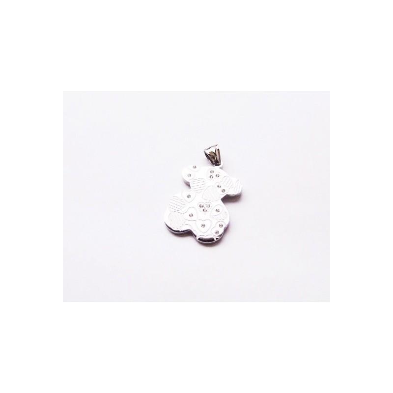 Přívěsek medvěd s kamínky a srdíčky ocelový