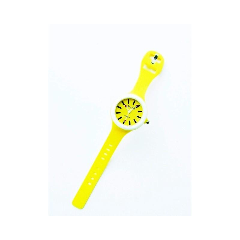 Žluté kulaté silikonové hodinky