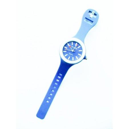 Modré silikonové kulaté hodinky