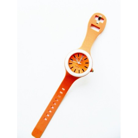 Oranžové hodinky zo silikónu okrúhle