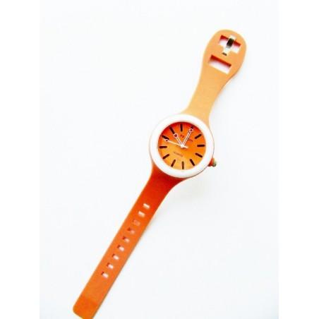 Pomarańczowy zegarek silikonowy okrągły