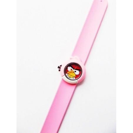 Růžové silikonové hodinky motiv Red Bird