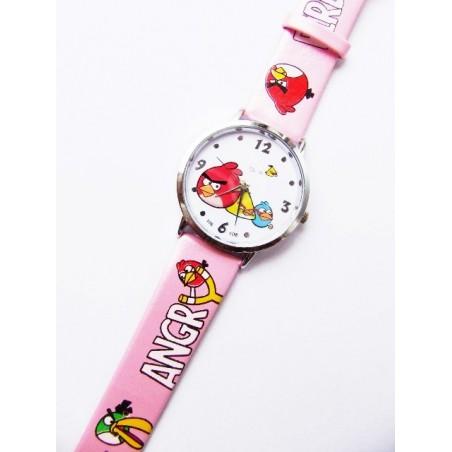 Růžové hodinky motiv Angry Birds