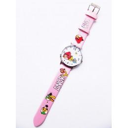Ružové hodinky motív Angry Birds