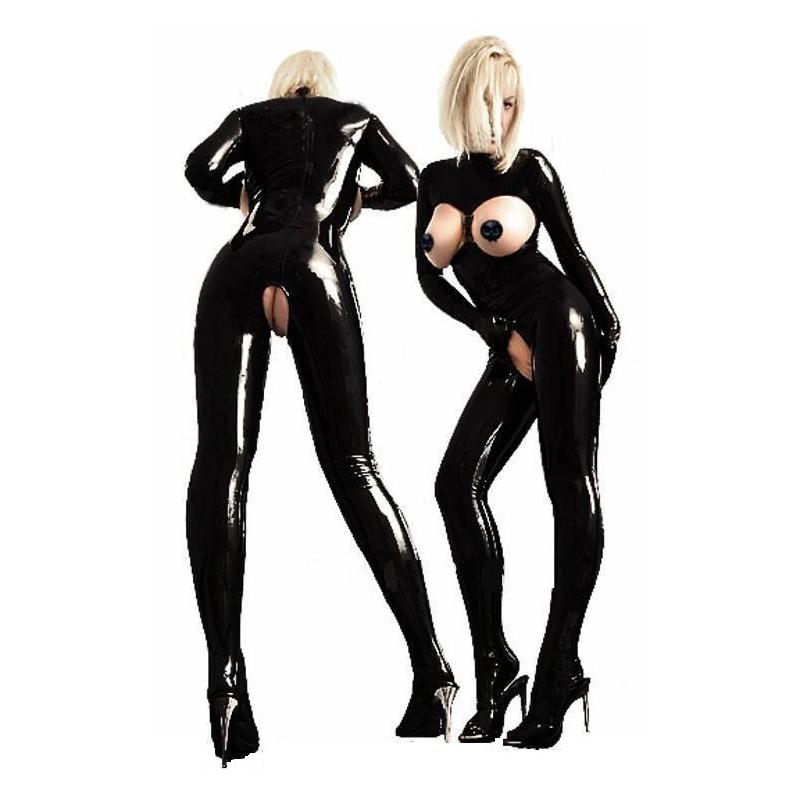 Čierny latexový kostým s otvormi