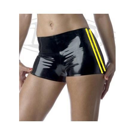 Latexové šortky, kalhotky se žlutými proužky