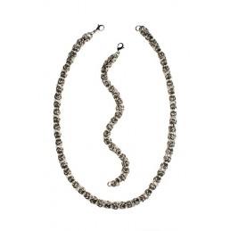 Sada šperkov náhrdelník a náramok krúžky z chirurgickej ocele