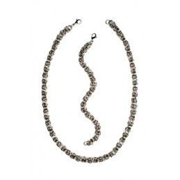 Sada šperků náhrdelník a náramek kroužky z chirurgické oceli