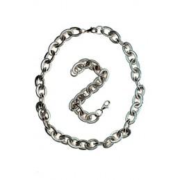 Schmuck-Set Halskette und Armband aus Stahl mit großen Löchern