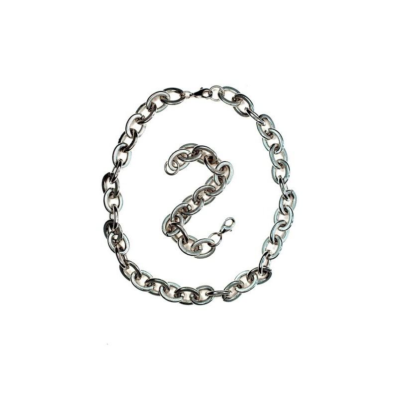 Set šperků ocelový náhrdelník a náramek s velkými oky