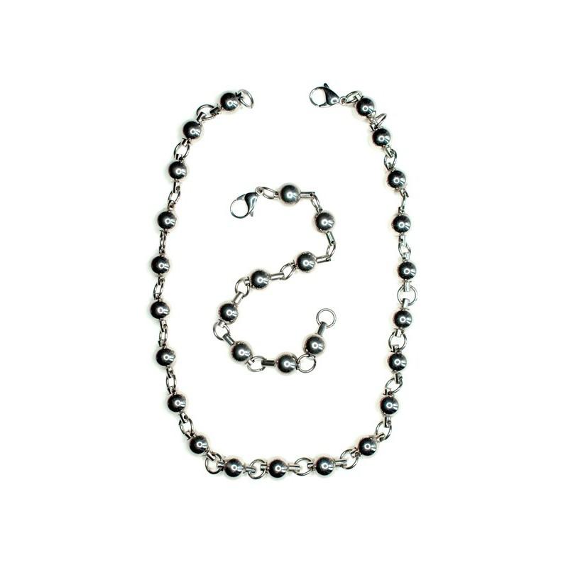 Set nyaklánc és karkötő gyöngyökkel rozsdamentes acélból