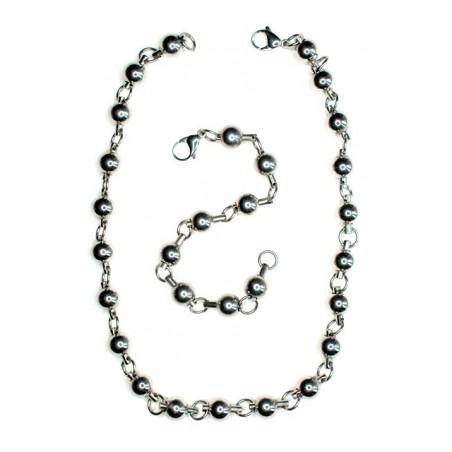 Set Halskette und Armband Perlen aus Edelstahl