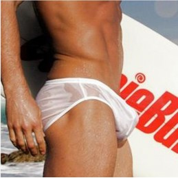 Plavky pánské AussieBum bílé poloprůhledné