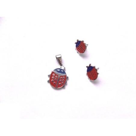 Set šperků náušnice pecky a přívěsek berušky