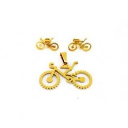 Schmuck-Set - Halskette und Ohrringe Fahrrad