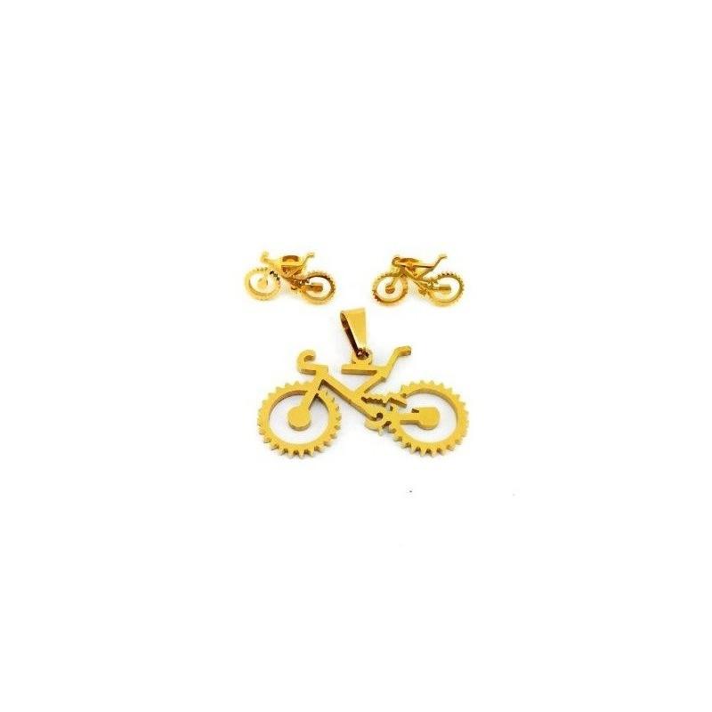 Zestaw biżuterii - zawieszka i kolczyki rower